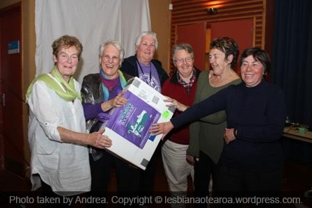 LNA volunteer Jenny Rankine was a member of the winning team, Lavender Menace, pictured second left with Denise Yates, left, Lindsey Rae, Mike Stone, Jo Quatermass and Doreen Suddens and their prize of books from the Women's Bookshop.